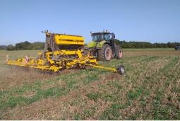 Seeder seeding a field
