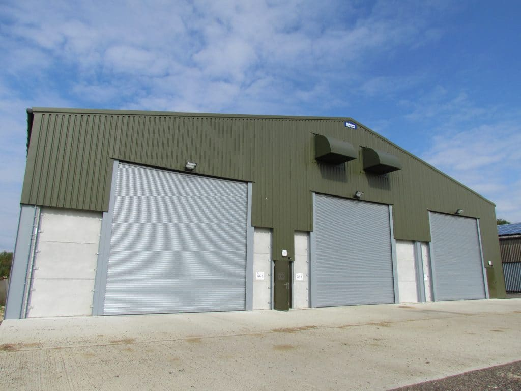 Warehouse with three large shutters