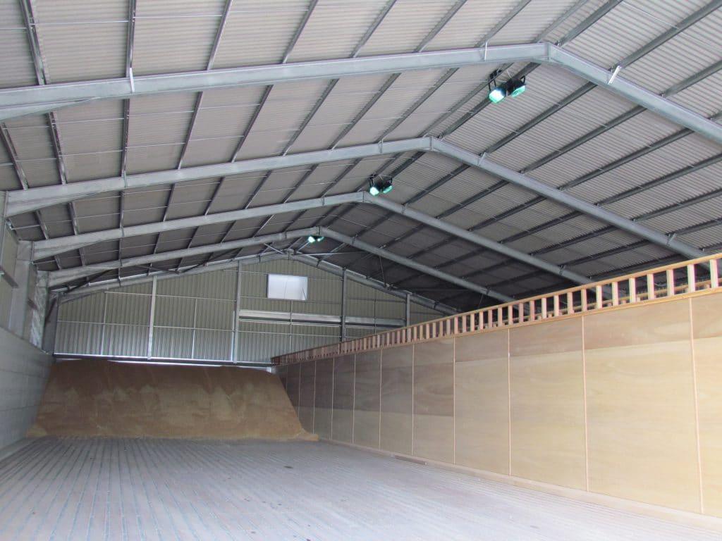 Grain drying in warehouse