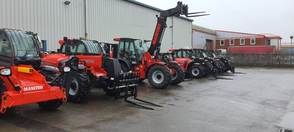 Fleet of Manitou vehicles parked up